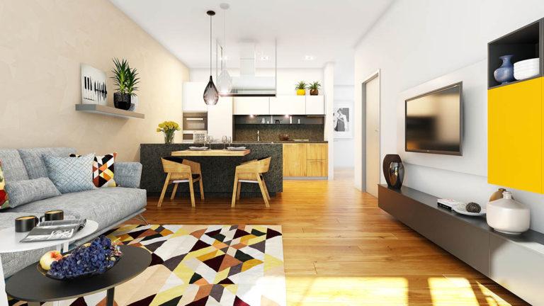 LEŠETÍN ZLÍN - designová vizualizace obývacího pokoje s kuchyní