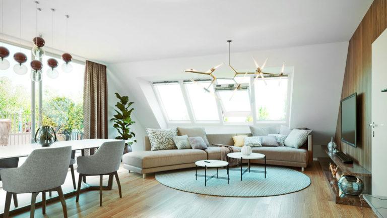 3D vizualizace obývacích pokojů