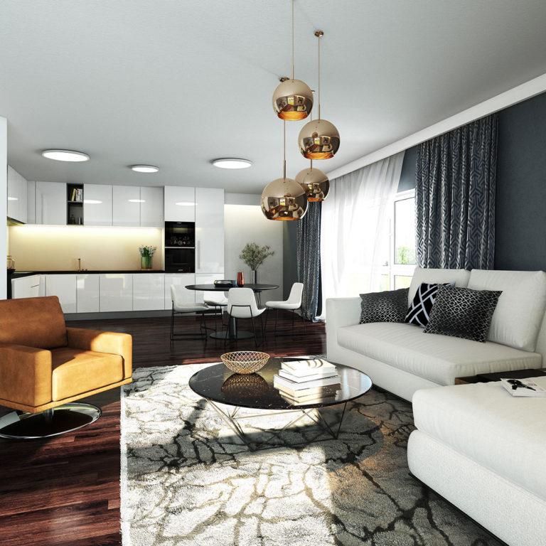 3D vizualizace obývacího pokoje