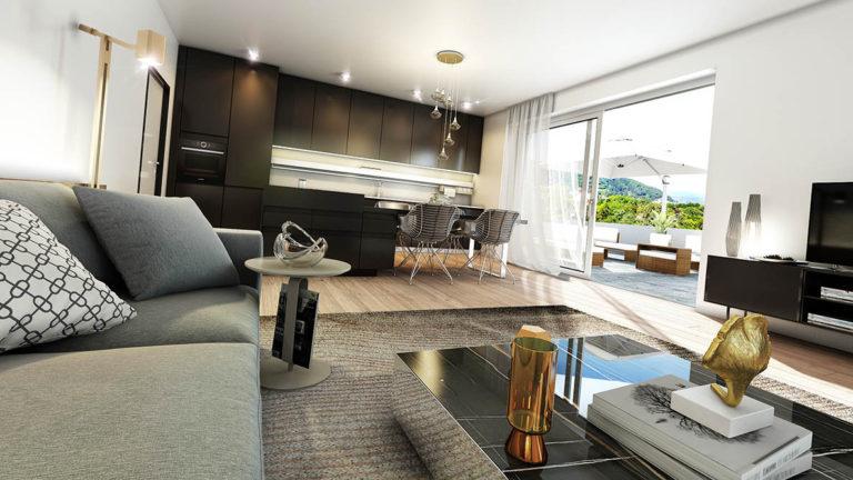 Baiernstrasse Graz - vizualizece interiéru obývacího pokoje
