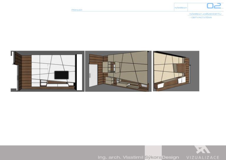 Nákresy zařízení bytu - obývací stěna