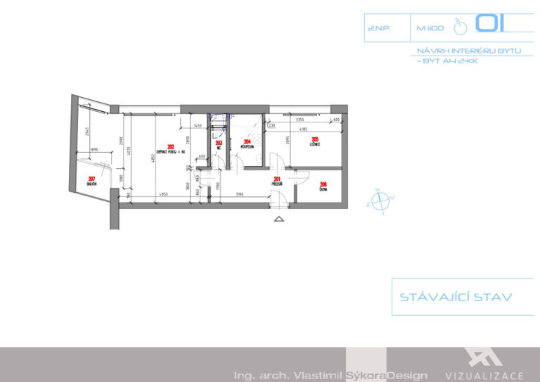 Návrh interiéru bytu - stávající stav