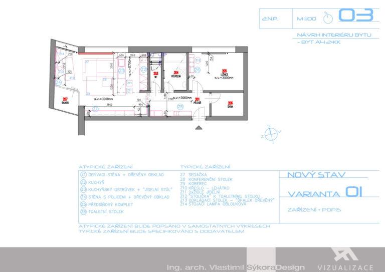 Návrh interiéru bytu - popis zařízení