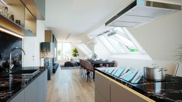 Vizualizace obývacího pokoje a kuchyně