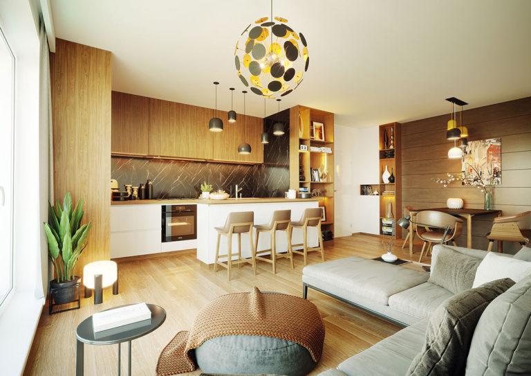 Vizualizace obývacího pokoje v bytě