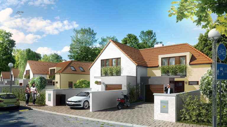 Vizualizace řadových domů - pohled na ulici