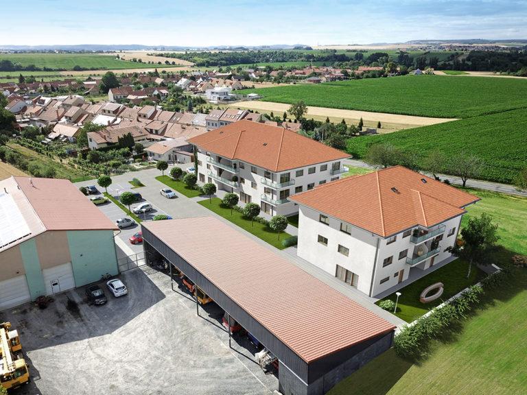 Fotografie rodinných domů z dronu