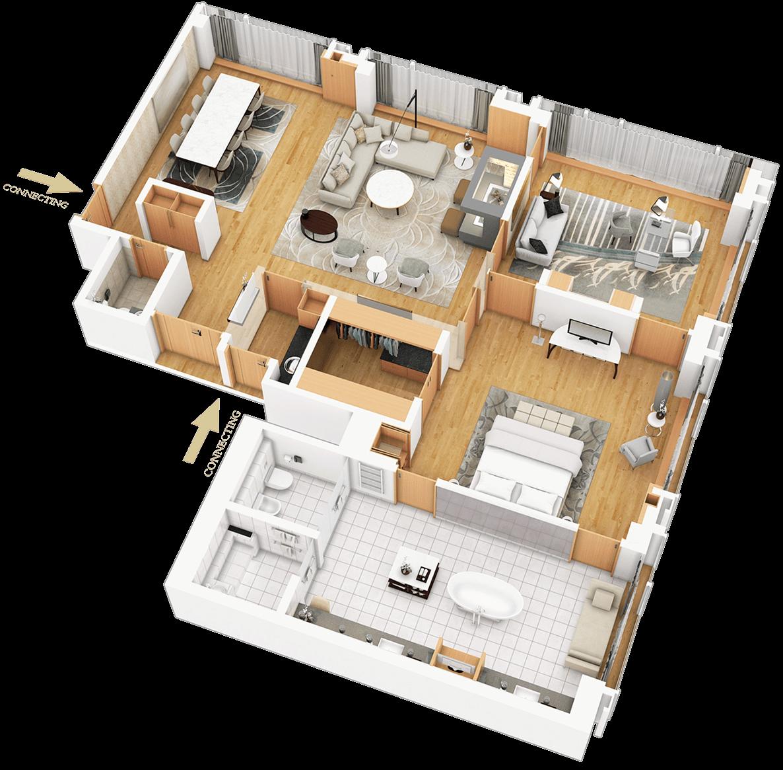 3D půdorysy bytů